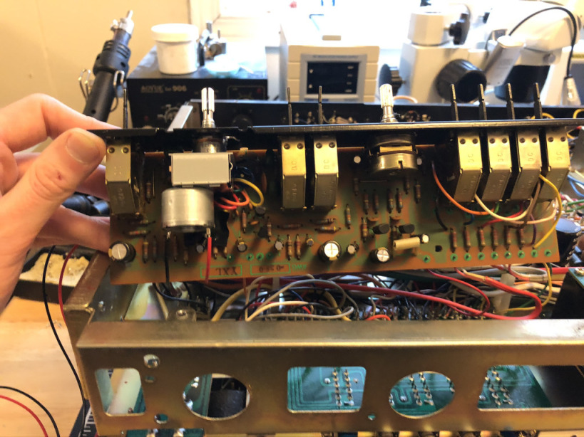 A photo of Flat Amplifier Assembly and panel with the new potentiometer installed